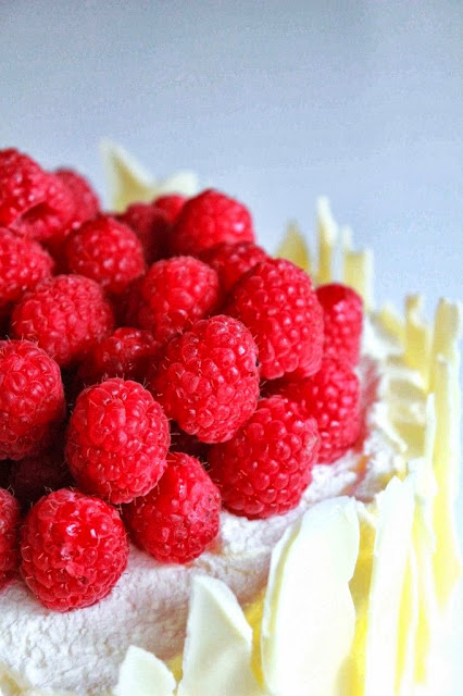 Lemon Raspberry Sponge Cake with White Chocolate Shards with recipe link