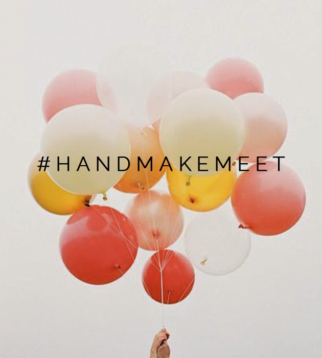 handmake meet hashtag over picture of balloons