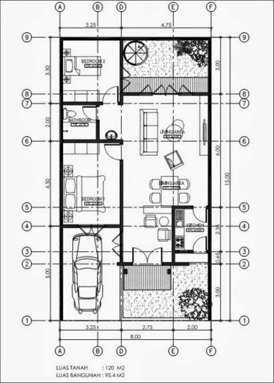 gambar denah rumah 8x15 kreatif