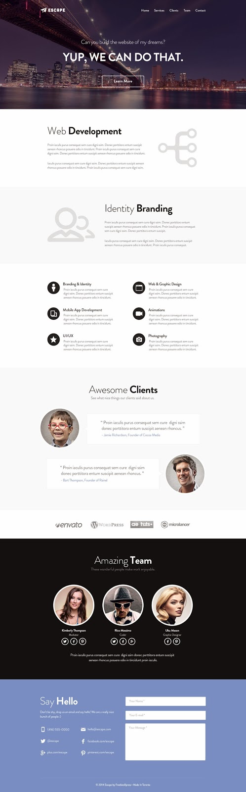 One Page Web PSD Template