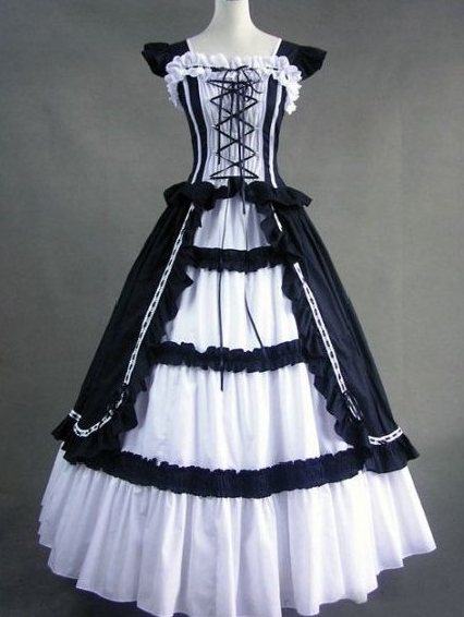 Vintage Black and White Cap Sleeves Gothic Victorian Dress
