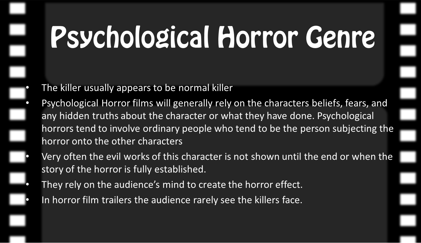 slasher genre Conventions of the horror genre by harriet edwards mise-en-scene & iconography typical themes promotional package conventions institutional details common objects colour and lighting costumes props typical features typical characters typical setting there is usually an element involving death.