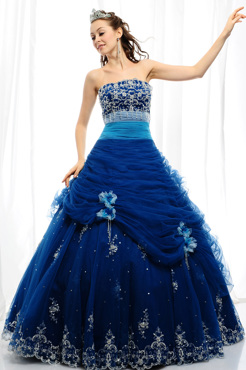 Blue quinceanera angel dress wedding gowns for Pictures of blue wedding dresses