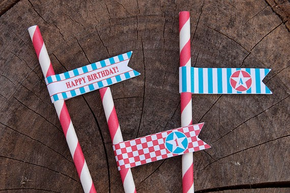 Vintage Airplane Birthday Straw Pennant Flags - Red & Teal - Personalized