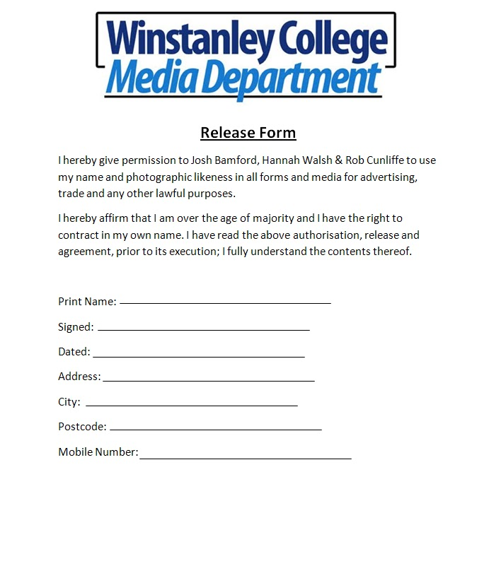 Media Release Form Media Release Form Template Free Sample Example