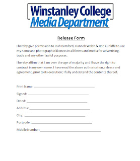 After Seeing The Example Release Form We Decided To Create Our Own To  Distribute To Everyone Who Would Be Starring In The Video.