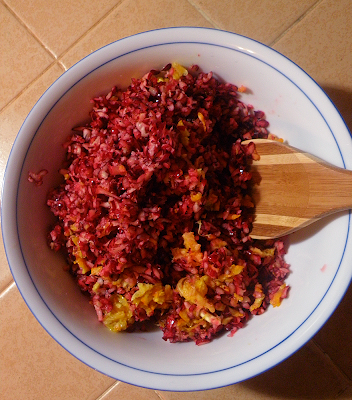 Cranberries and Oranges Grated in Dish