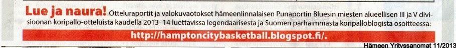 Hämpton City Basketballista sanottua: