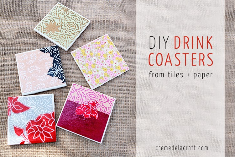 DIY: Drink Coasters from Tiles + Paper