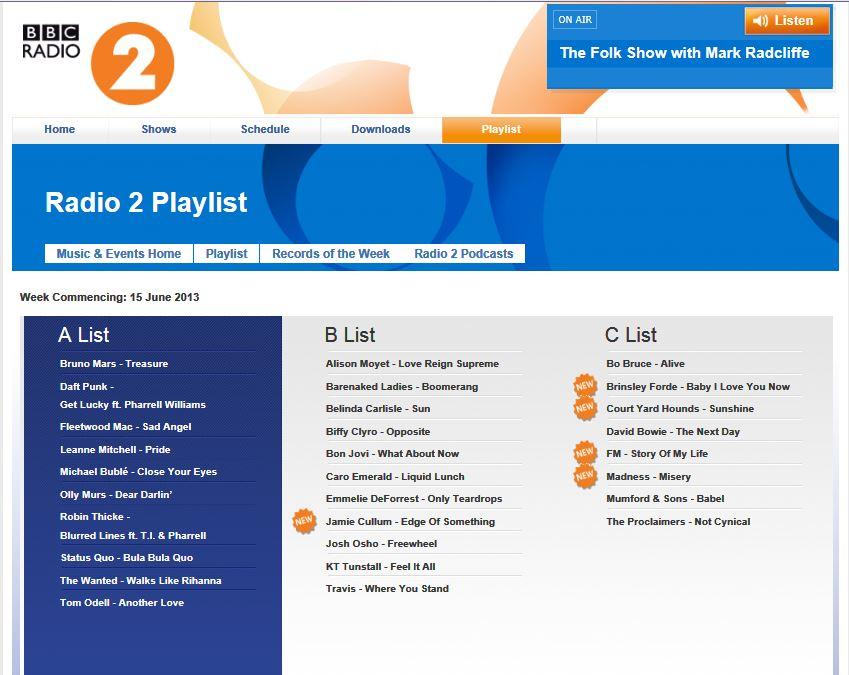 FM - Story Of My Life single on BBC Radio 2 playlist