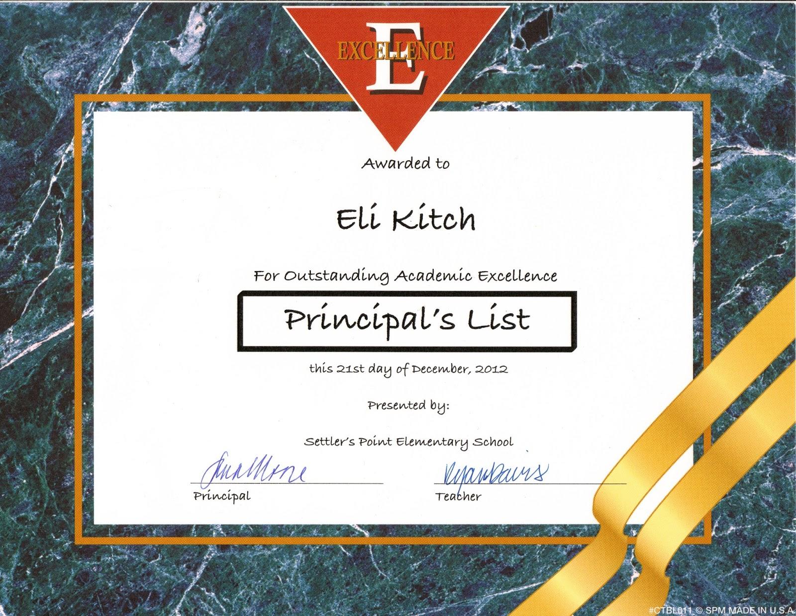 Kandid memories eli made the principal39s list for Principal s list award