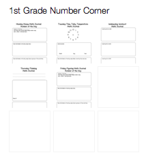 Number Corner Journal Templates