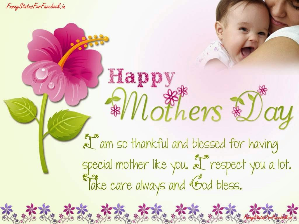 Happy Mothers Day Thanks Wishes Message SMS and eCard Image with Flower free By Funnystatusforfacebook.in