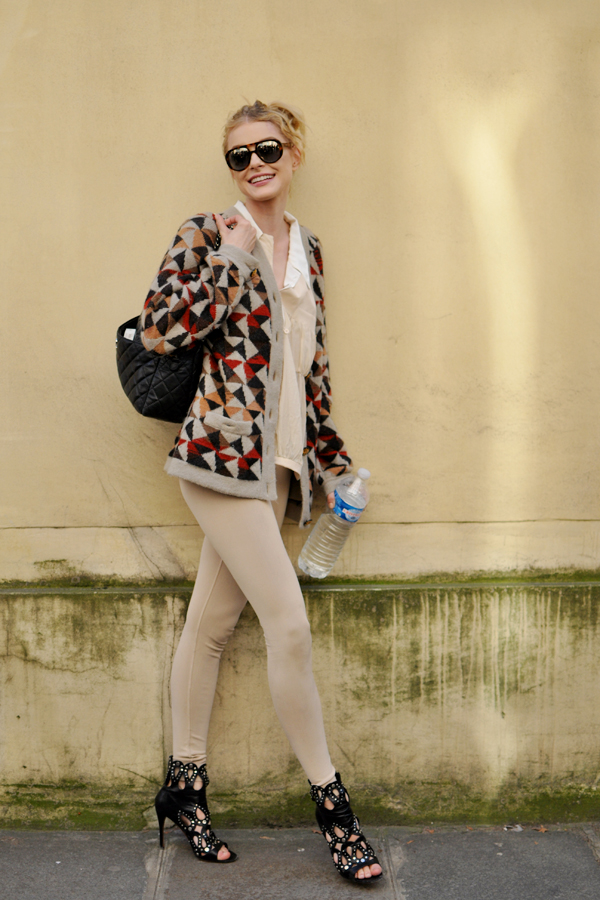 Street Style: Jessica Stam's Colourful Knitwear