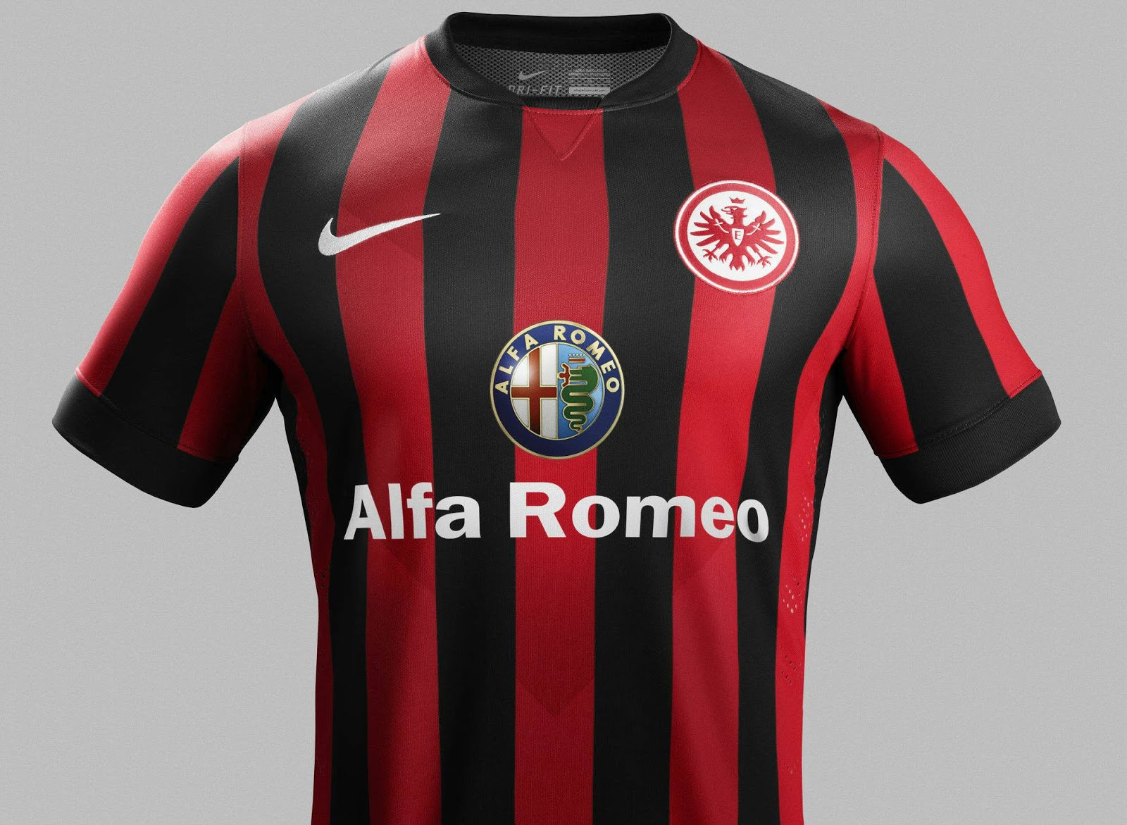 The classical Eintracht Frankfurt 2014-15 Home Kit features the traditional  black / red stripped kit design with four black vertical stripes, while the  red ...