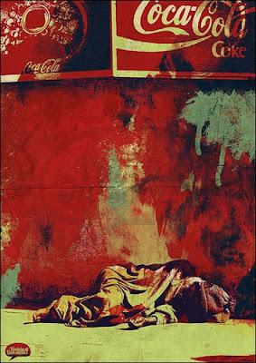Pinturas surrealistas creadas con sangre real - La vergüenza Cocacola