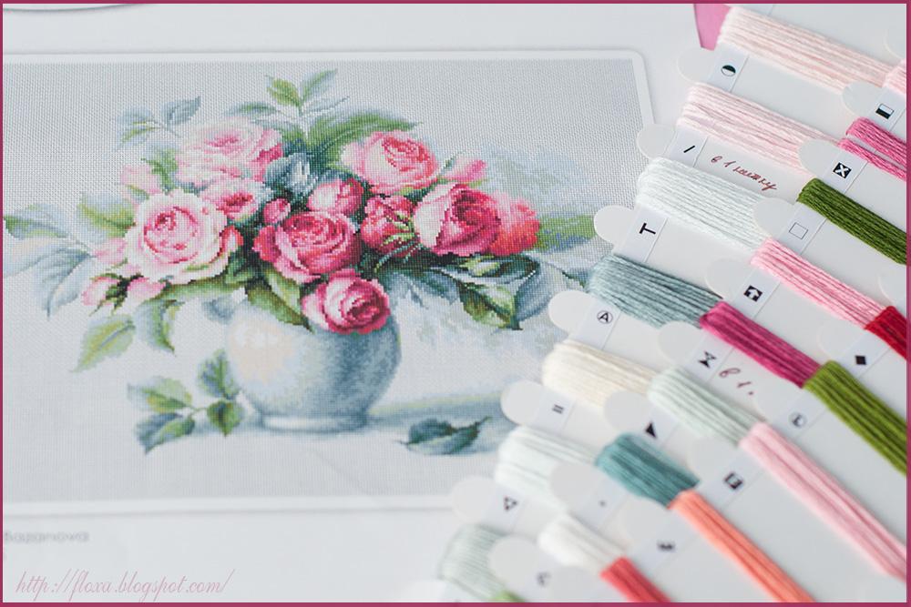 Этюд с чайными розами, вышивка процесс, вышивка розы, вышивка цветы