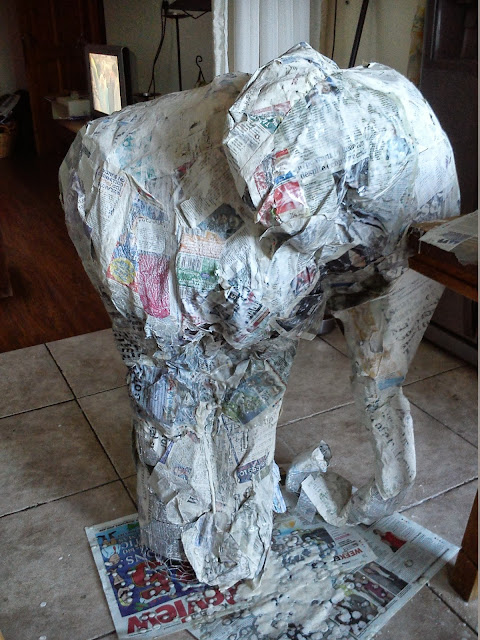 the art of up cycling how to make a paper mache elephant