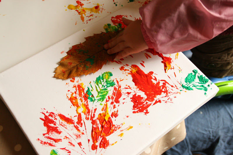 Toddler Art Autumn Leaf Printing on This Was A Collaborative Project I Did With One