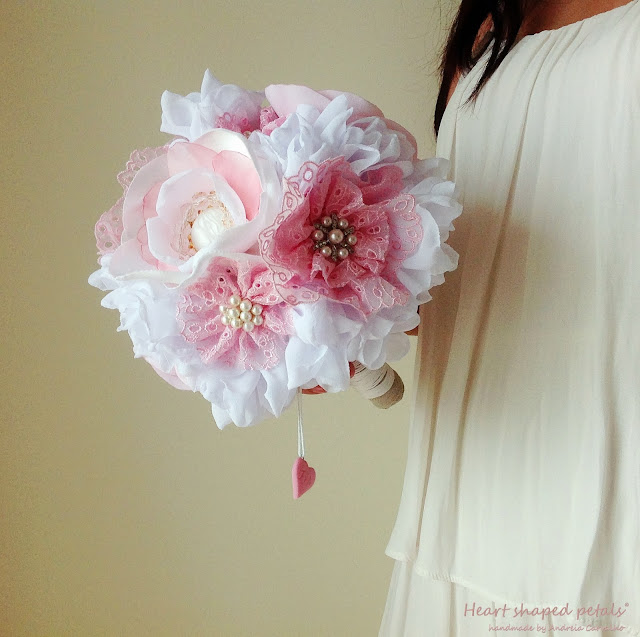 Fabric bridal bouquet with pendant