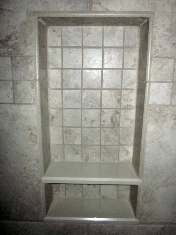 2x2 mosaic tiled neishe with marble shelves title=