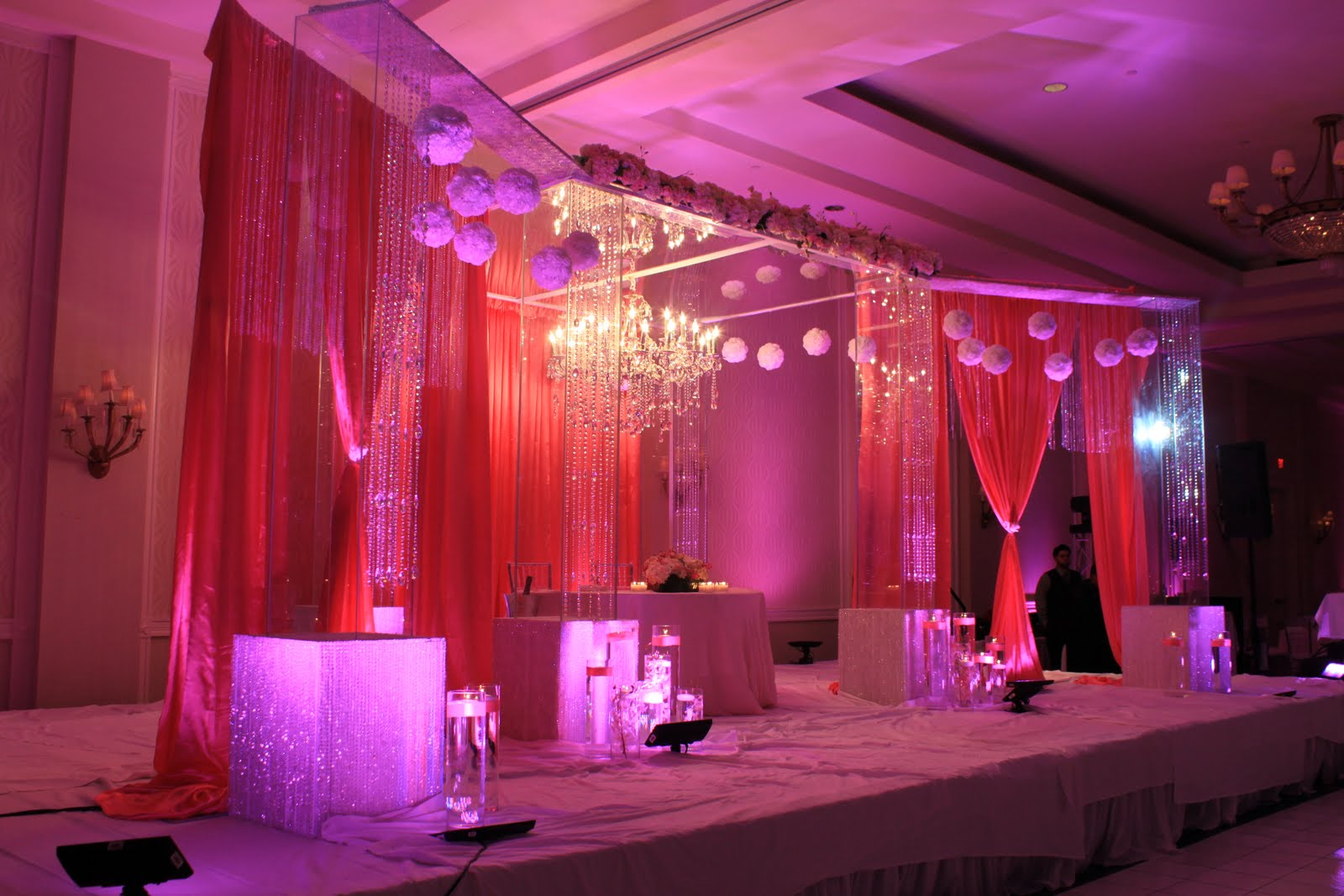 Indian wedding with our lucite Mandop,Crystal chandalier and flowers ...