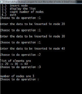 c program to count number of nodes in linked list