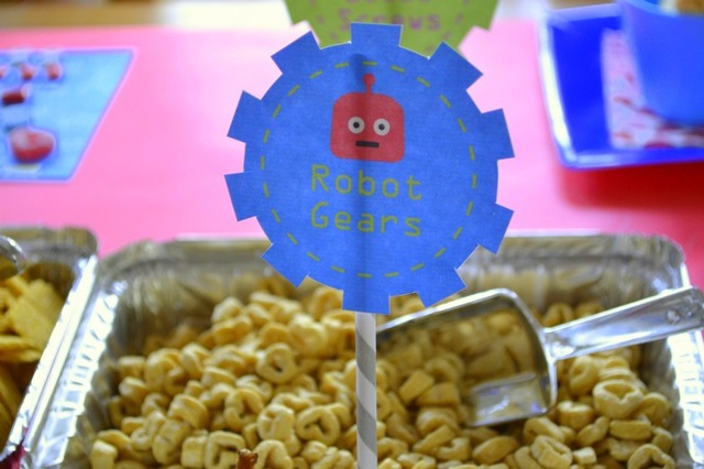 robot Valentine Playdate party food sign
