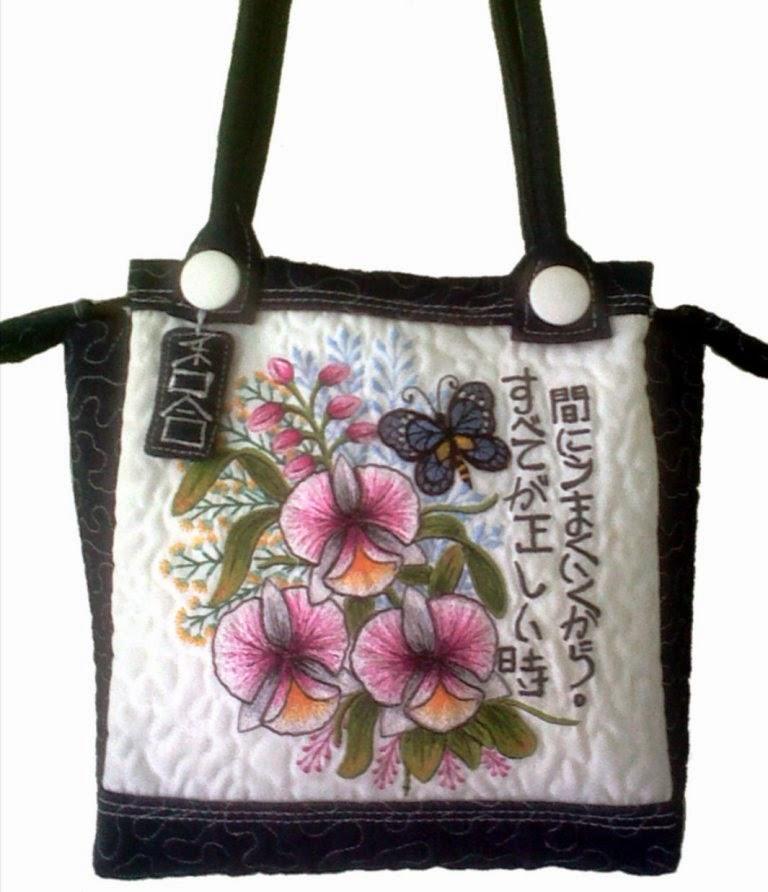 cattleya embroidered handbag