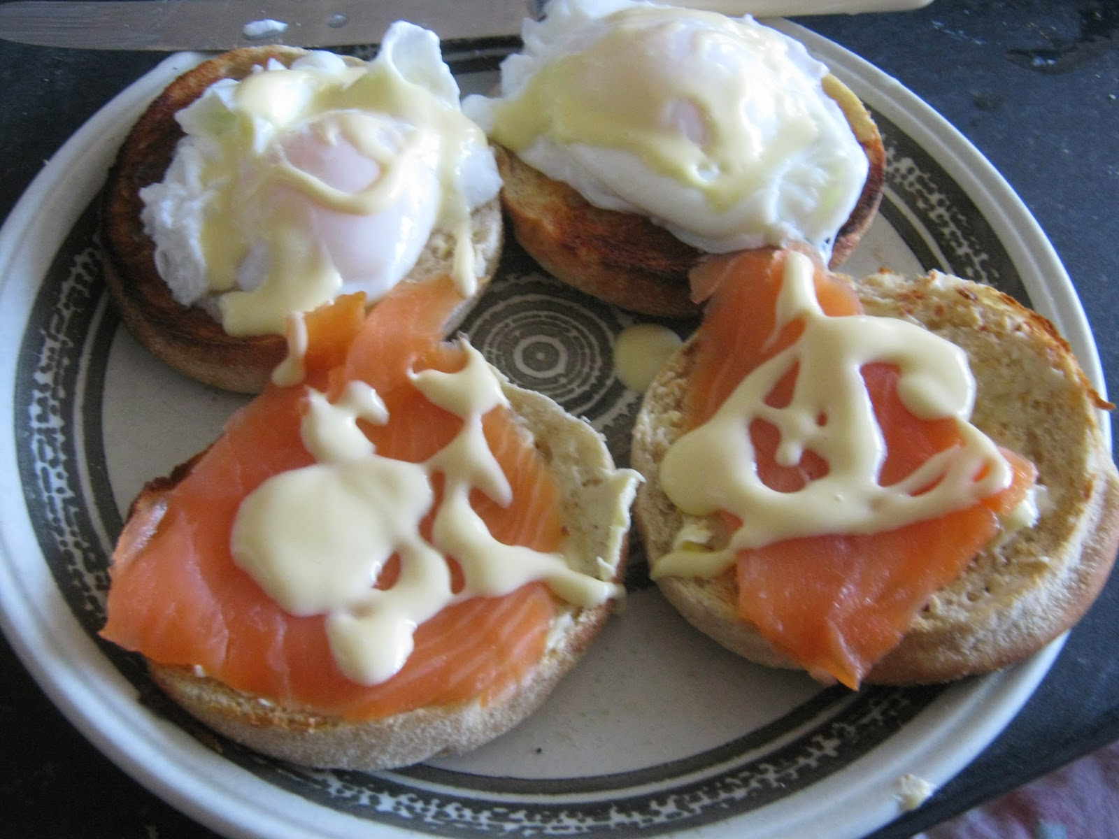 Eggs royale: English muffins topped with poached eggs, smoked salmon and hollandaise sauce