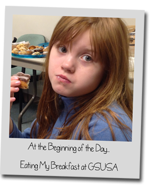 GSNC Girl Scout Cadette Abby A. Tells Us About Her as a Reporter - Picture of Abby Eating Breakfast at GSUSA