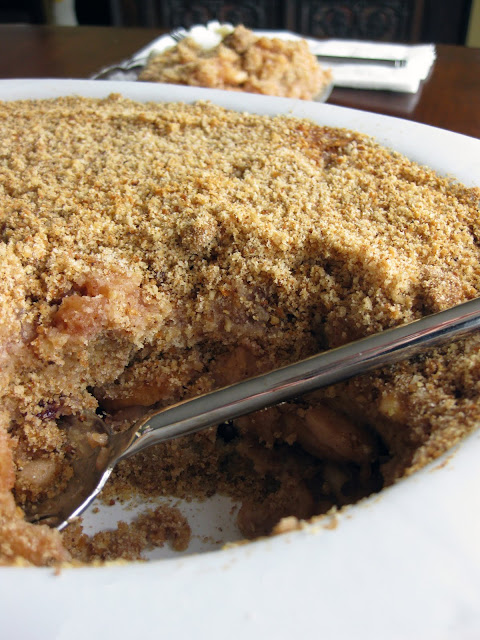 Though this is a bread dessert, it contains much more apple than breadcrumb.