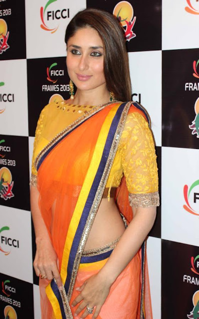 Kareena Kapoor Navel Show In Transparent Orange Saree
