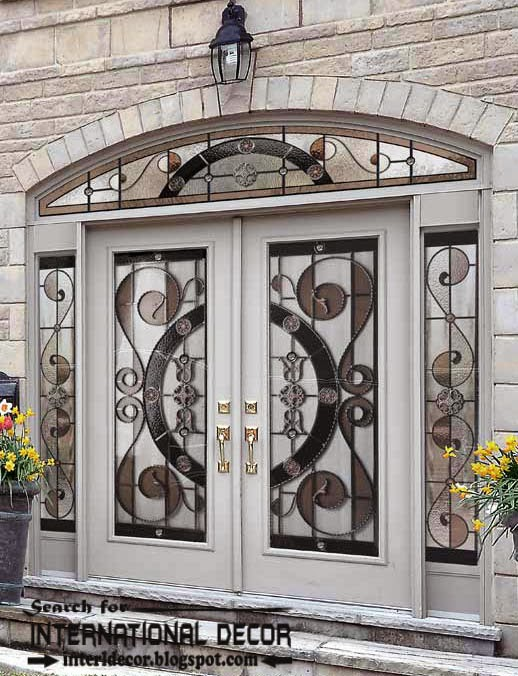 italian doors,wrought iron door,stained glass door,white doors