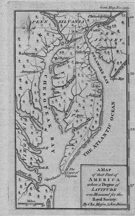 Delaware colonial map of Delaware Bay 1769.