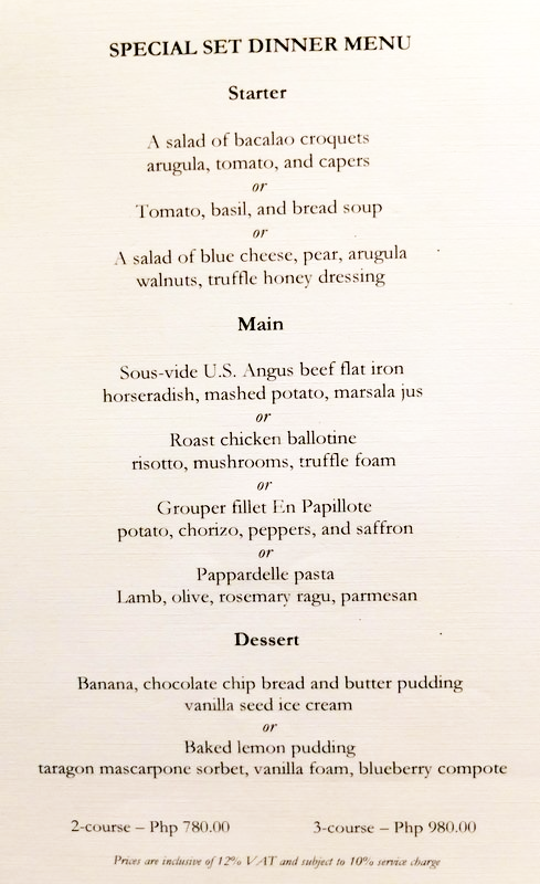 Opus Restaurant Menu Special Set