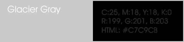 Glacier Gray y sus códigos cmyk, rgb, html