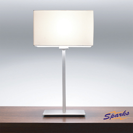 Park Lane Table Lamp in Matt Nickel and White Shade