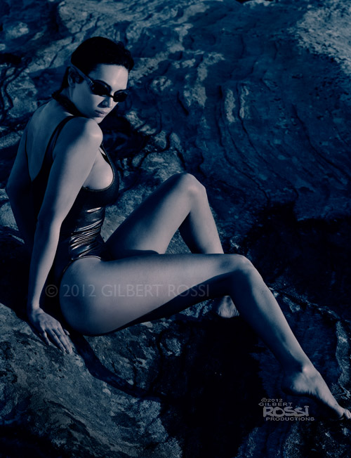classic swimwear shot on australian landscape, location fashion shoot of australian model and actor gillian cooper by photographer gilbert rossi