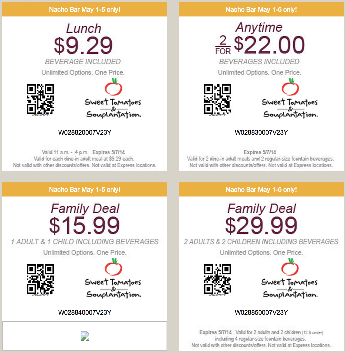 Sweet tomatoes discount coupon