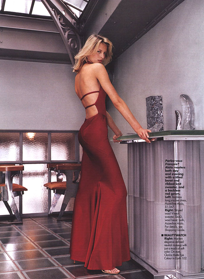Karolina Kurkova wearing Alaia Elle US September 2000 (photography: Gilles Bensimon)