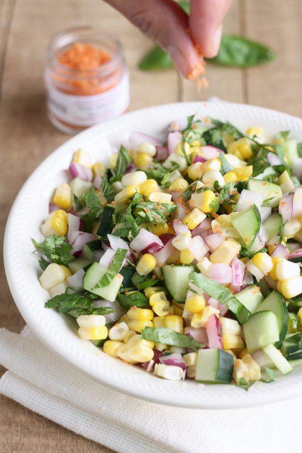 Thai style corn salad with Sriracha Sea Salt by SeasonWithSpice.com