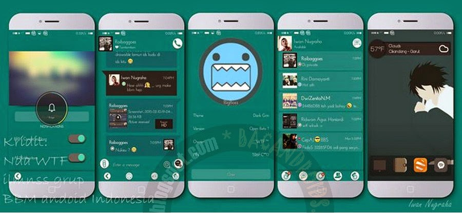 Download BBM Mod Dark Grin Theme Apk
