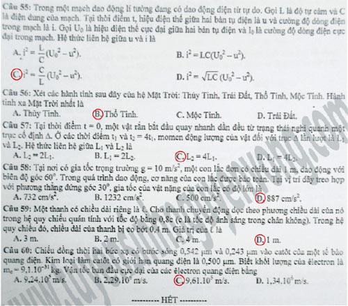 bài thi môn Vật lý mã đề 749