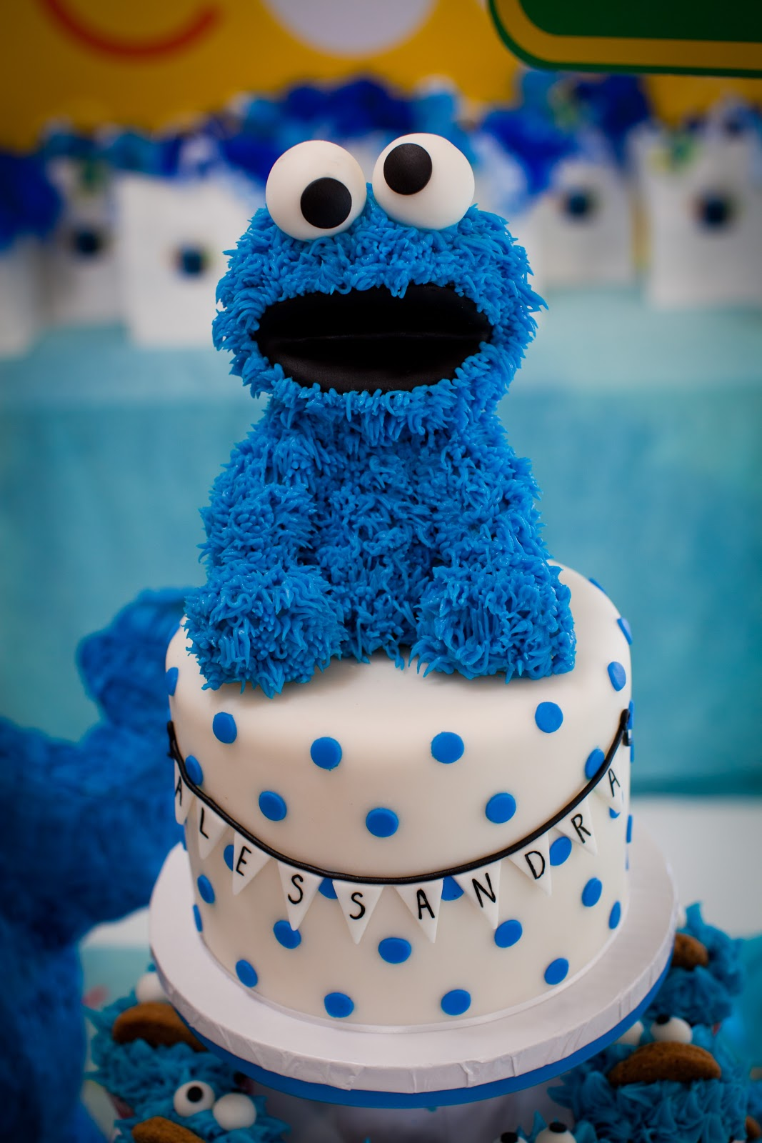 cookie monster event blue cupcake