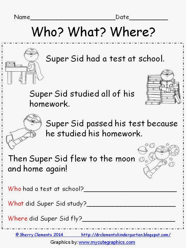 http://www.teacherspayteachers.com/Product/Reading-Comprehension-Who-What-Where-FREEBIE-1115144