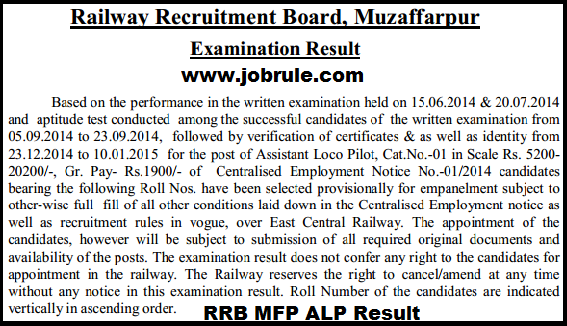 RRB Muzaffarpur ALP Final Result/Selection list for Appointment (CEN 01/2014)