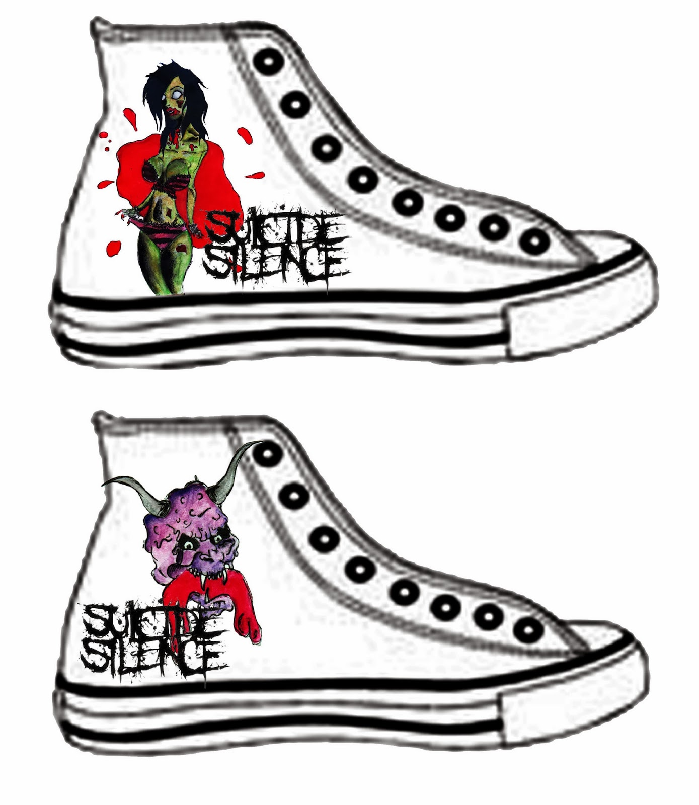 my work more of zombie tramp and college 39 s work suicide silence converse design. Black Bedroom Furniture Sets. Home Design Ideas