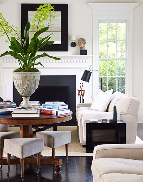 East hampton preppy home - Green living room ideas in east hampton new york ...