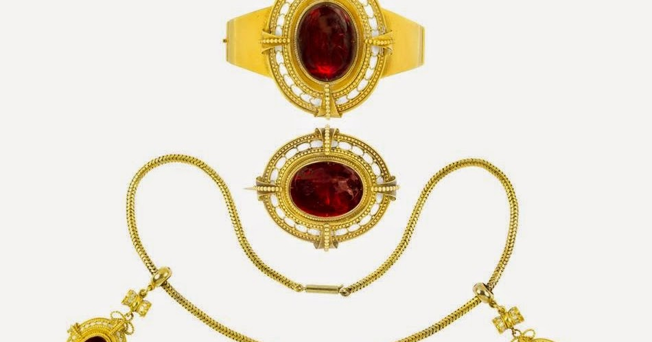 In the Swan's Shadow: Garnet, Enamel and Yellow Gold Suite ... Gold
